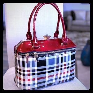 New Red, Black And Grey Tote Handbag